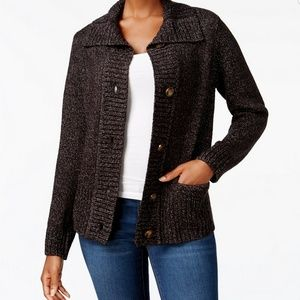 Karen Scott Shawl-Collar Button Front Cardigan